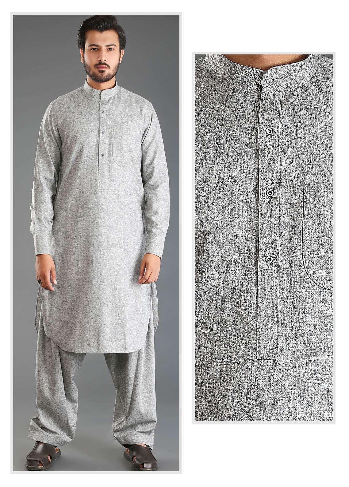 Sanaulla Exclusive Range Wash N Wear Woolen Men Kameez Shalwar - Grey SKS18W 10