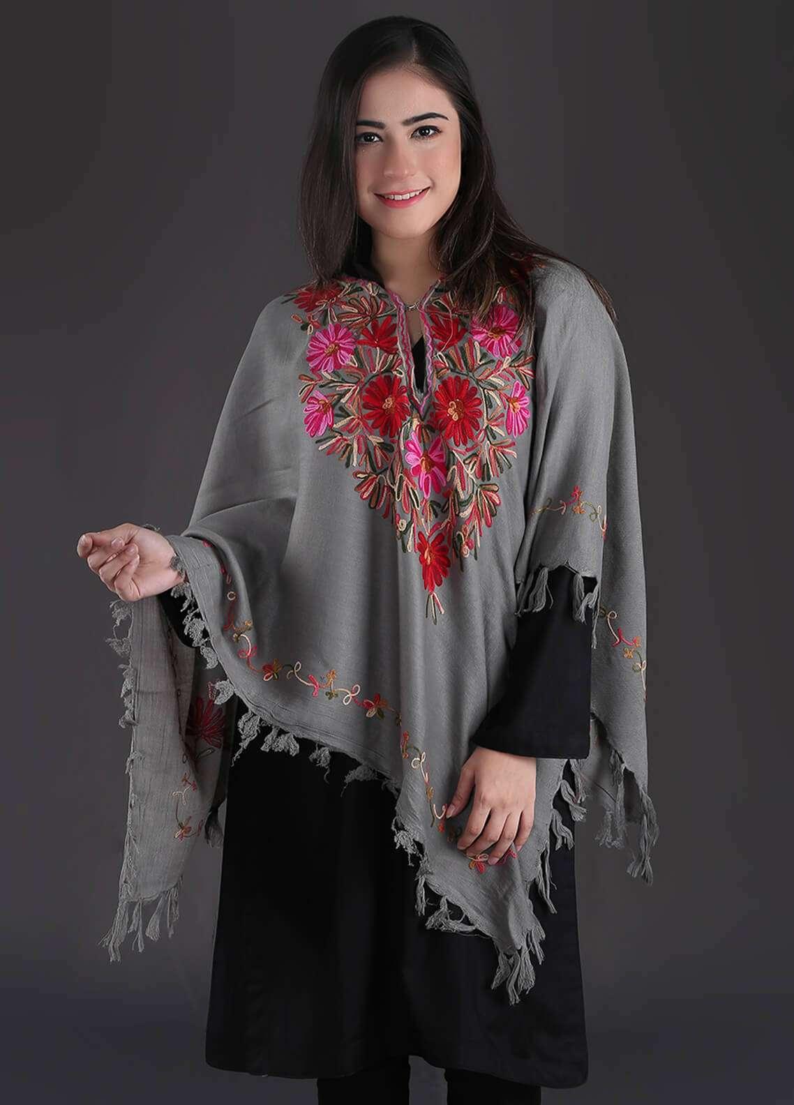 Sanaulla Exclusive Range Embroidered Pashmina Free Size Ponchos 05 - Winter Collection