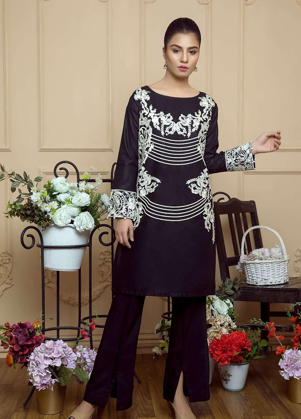 Festive Embroidered Cotton Net Stitched Kurtis F19SE118 Black