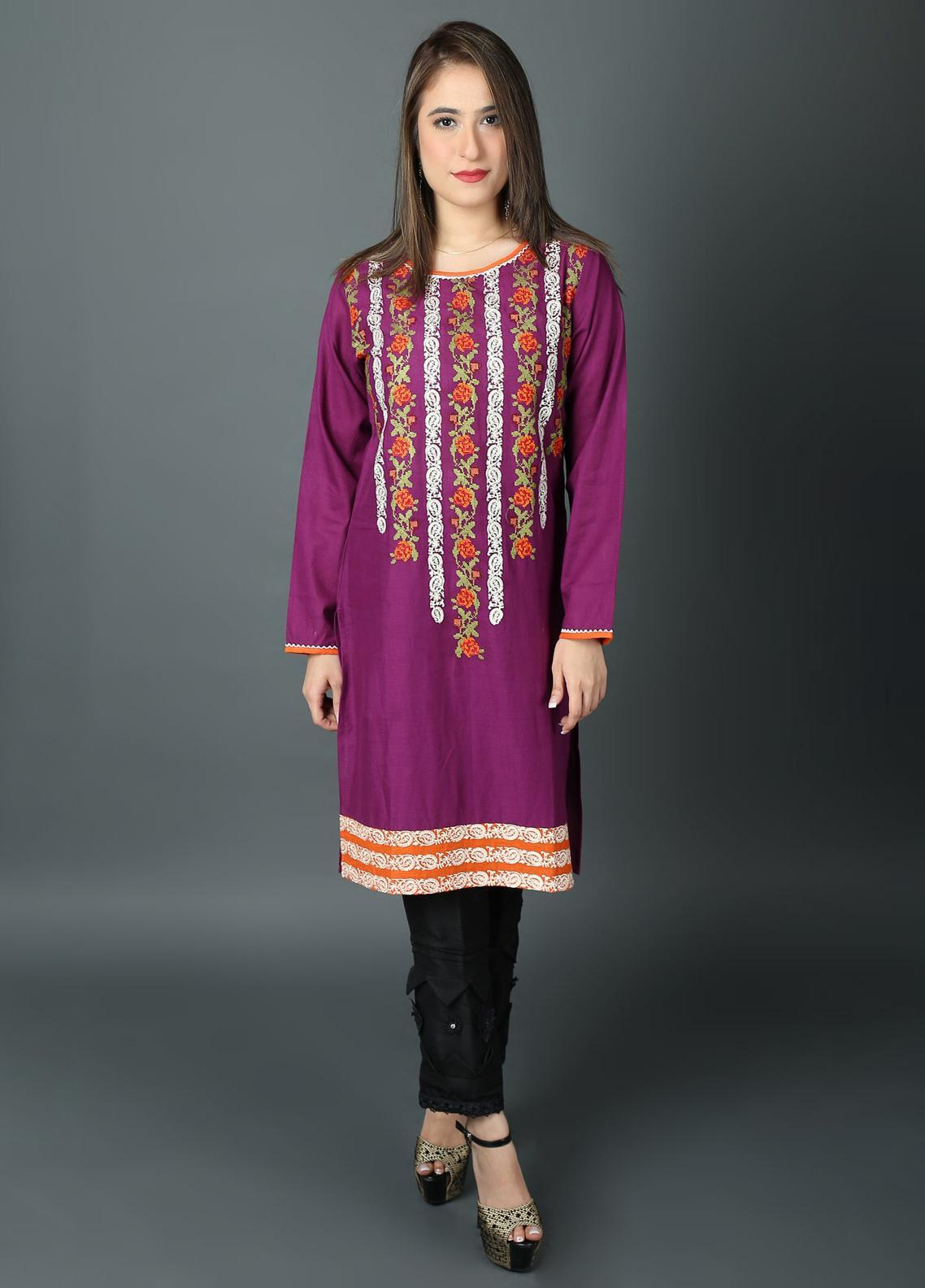 Festive Embroidered Lawn Stitched Kurtis F19WE111 Purple
