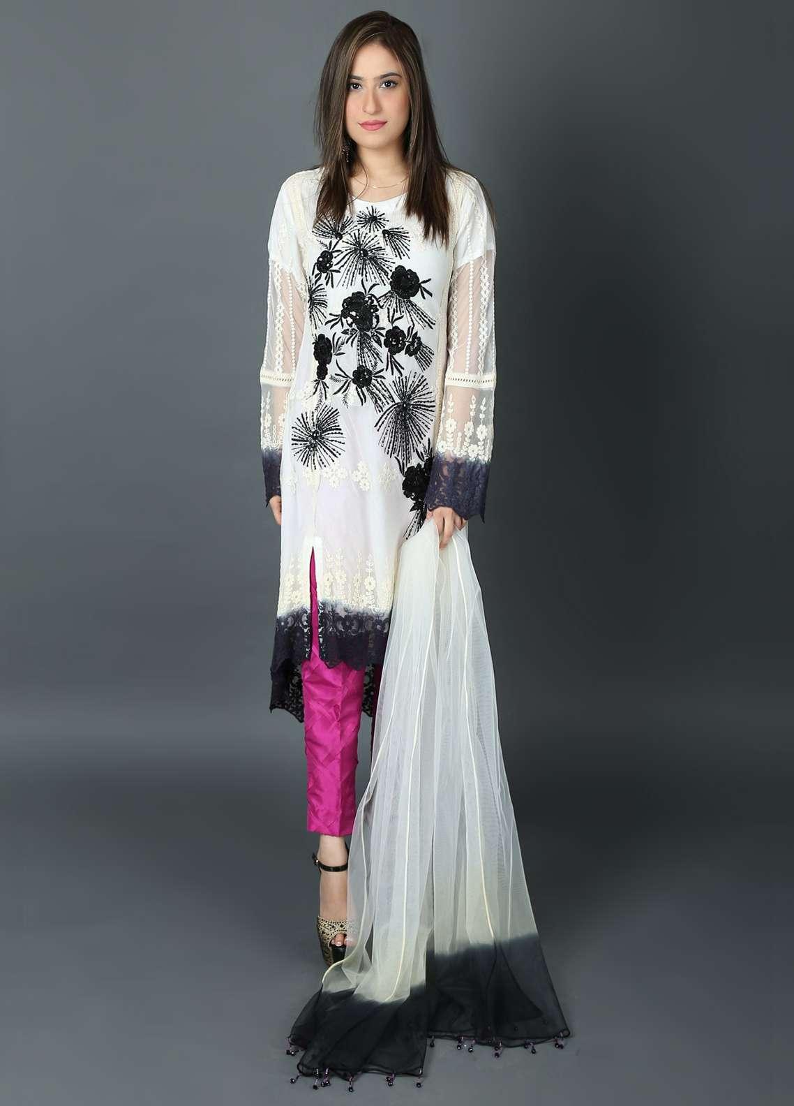 0de756e98b Kashish Embroidered Chiffon Stitched 3 Piece Suit KSH19P 5365 White