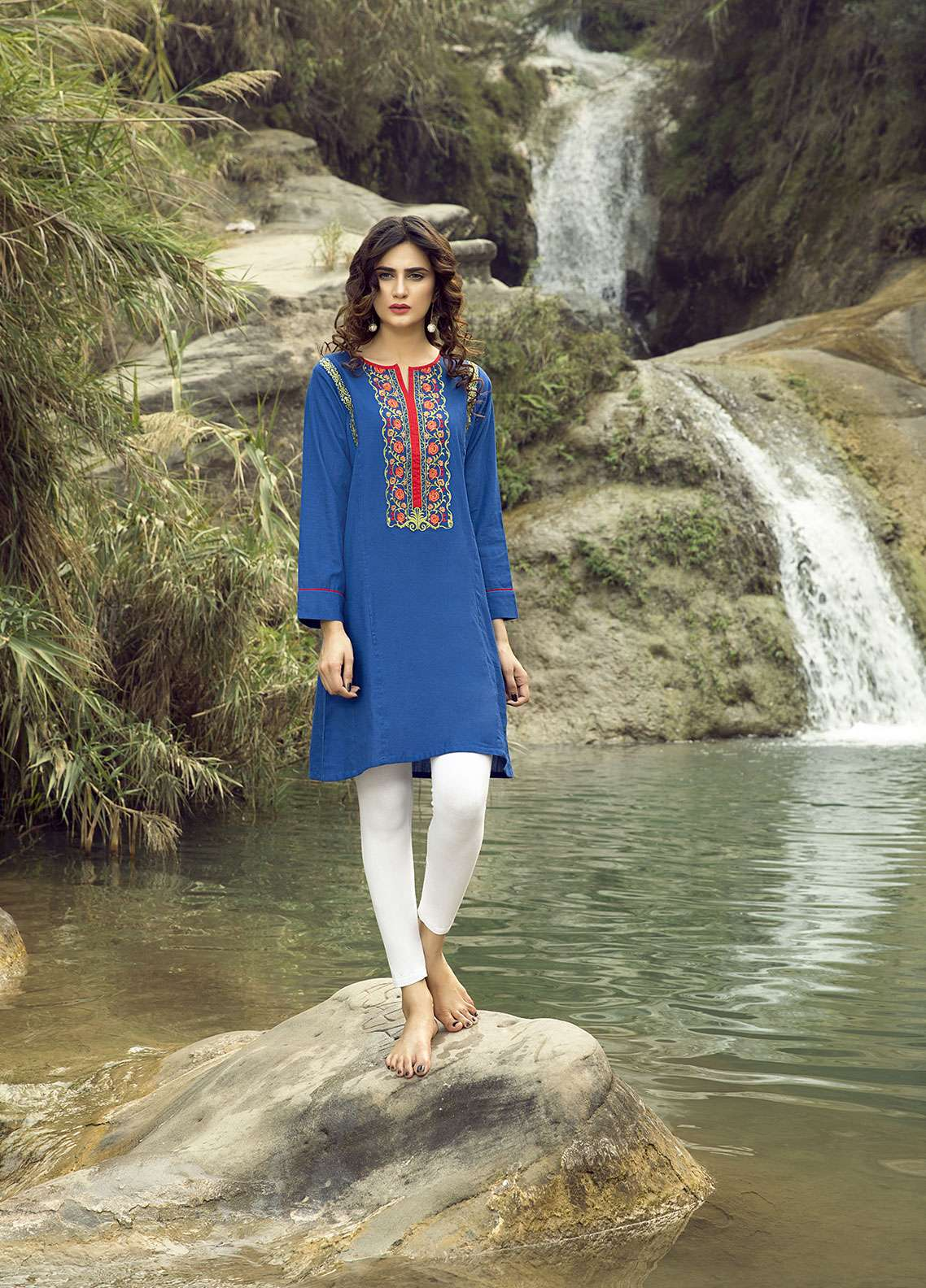 Festive Embroidered Khaddar Stitched Kurtis BLUE CHARM