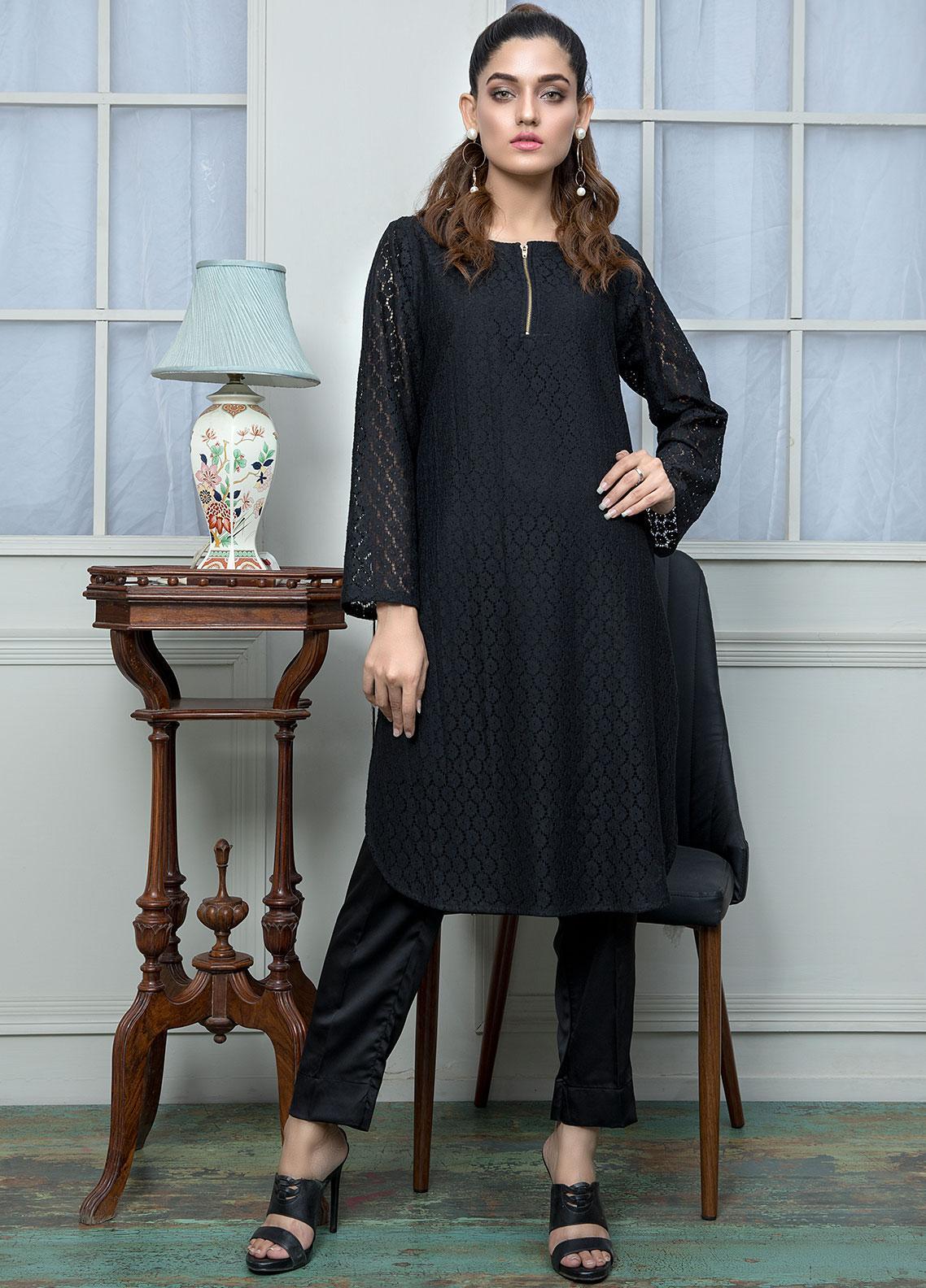 Festive Textured Cotton Net Stitched Kurtis F19SE161 Black
