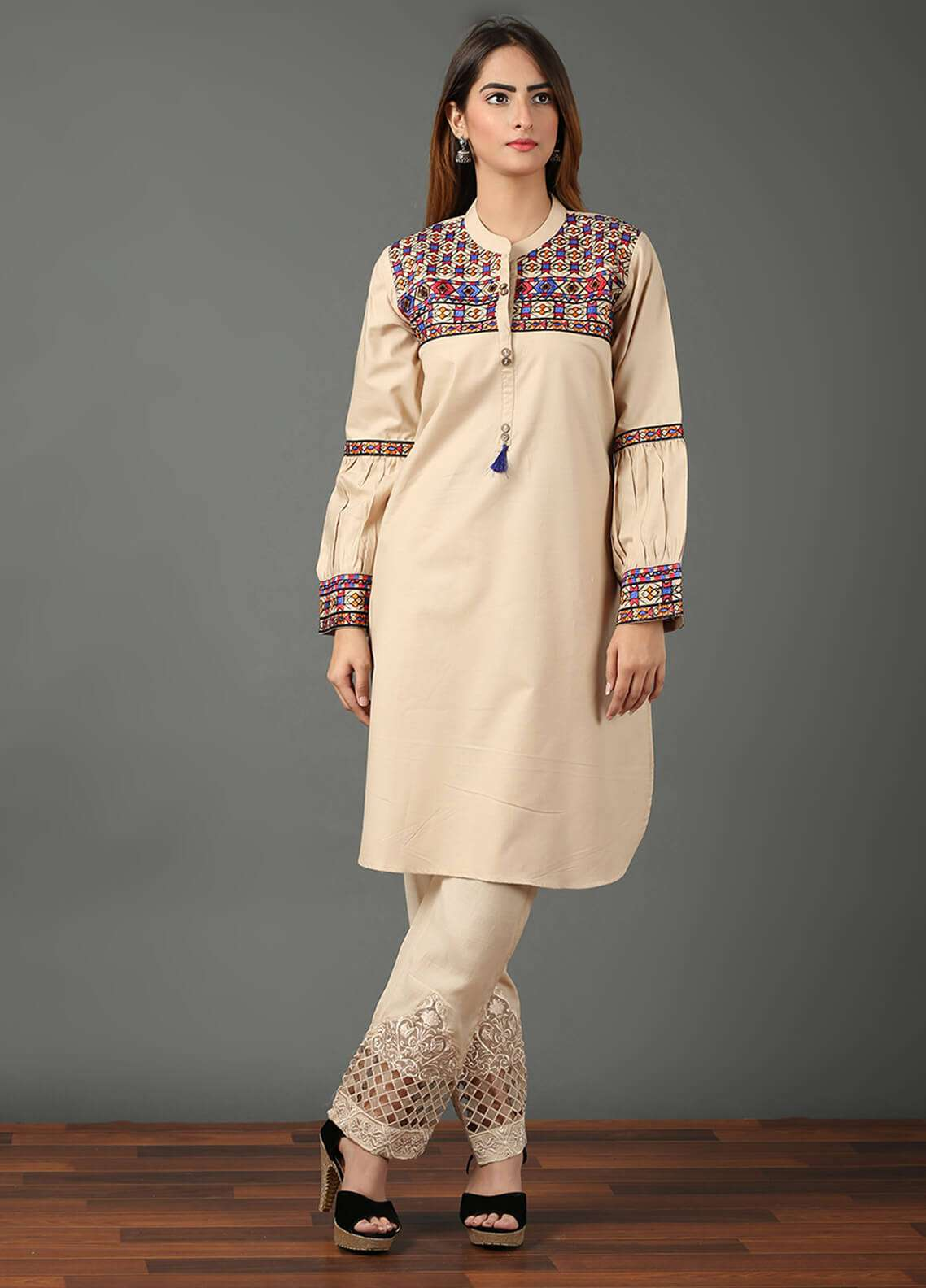 Festive Embroidered Khaddar Stitched Kurtis F19WE100 Skin