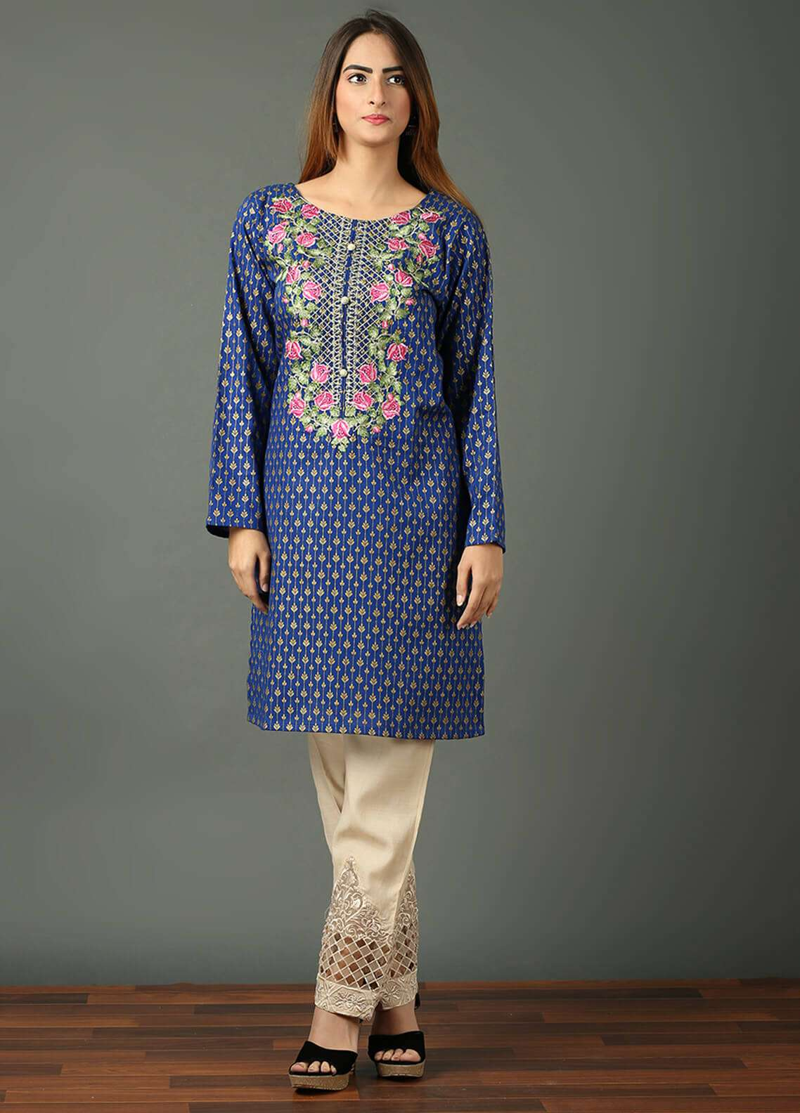 Festive Embroidered Khaddar Stitched Kurtis F19WE101 Blue