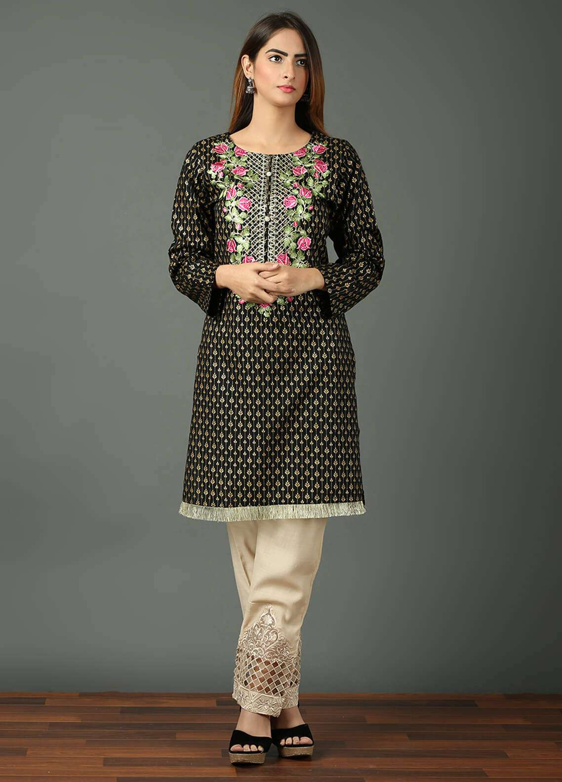 Festive Embroidered Khaddar Stitched Kurtis F19WE102 Black