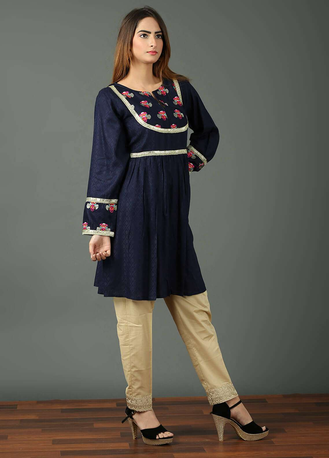Festive Embroidered Khaddar Stitched Kurtis F19WE103 Navy