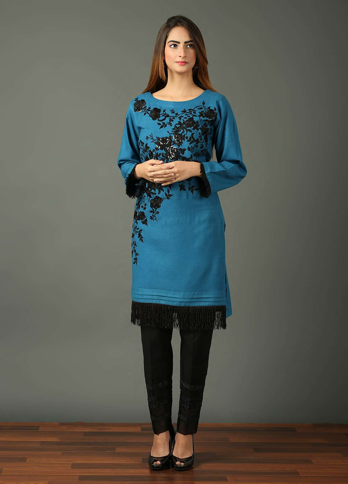 Festive Embroidered Khaddar Stitched Kurtis BLUE DREAMS