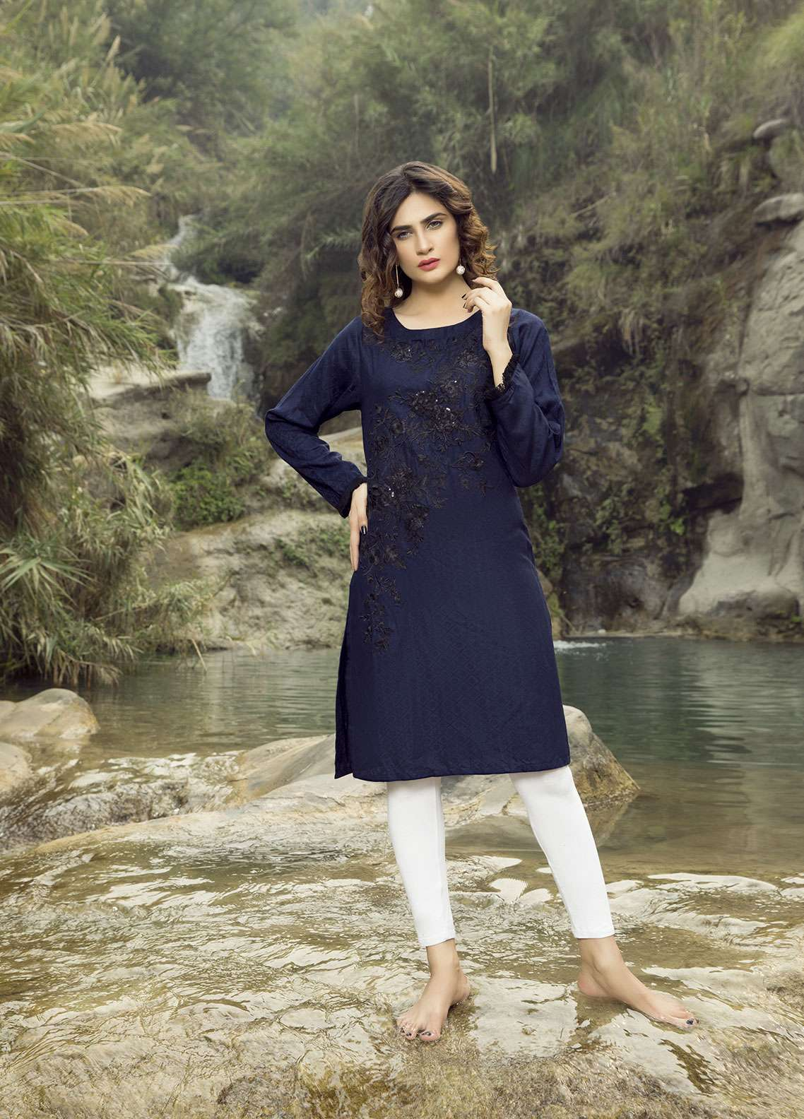 Festive Embroidered Linen Stitched Kurtis NAVY DREAM