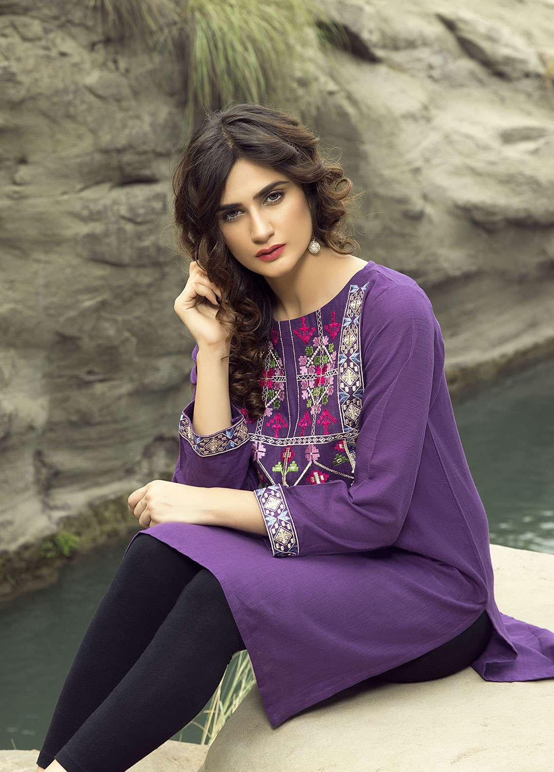 Festive Embroidered Linen Stitched Kurtis PURPLE TRIBAL