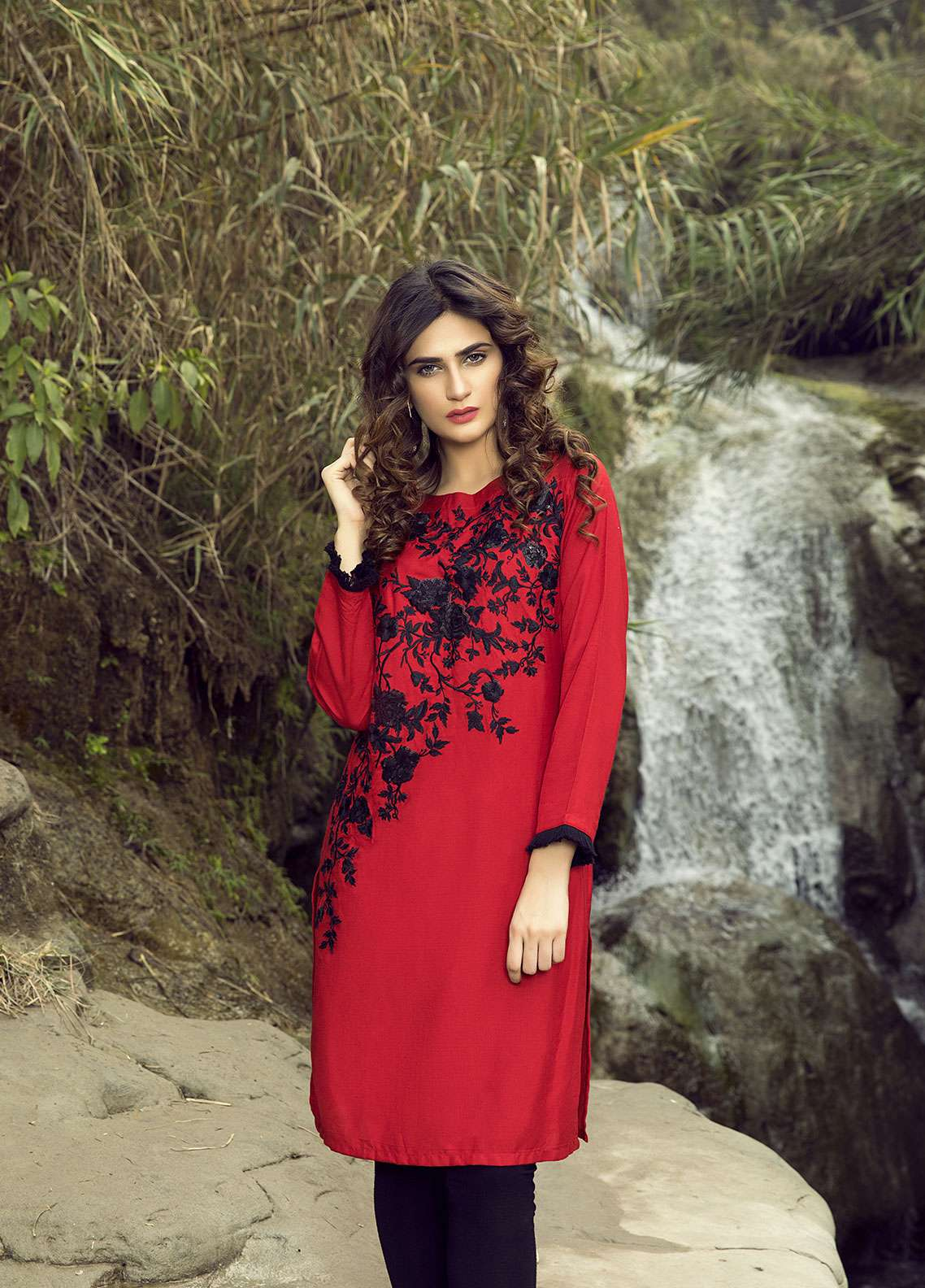 Festive Embroidered Khaddar Stitched Kurtis RED DREAM