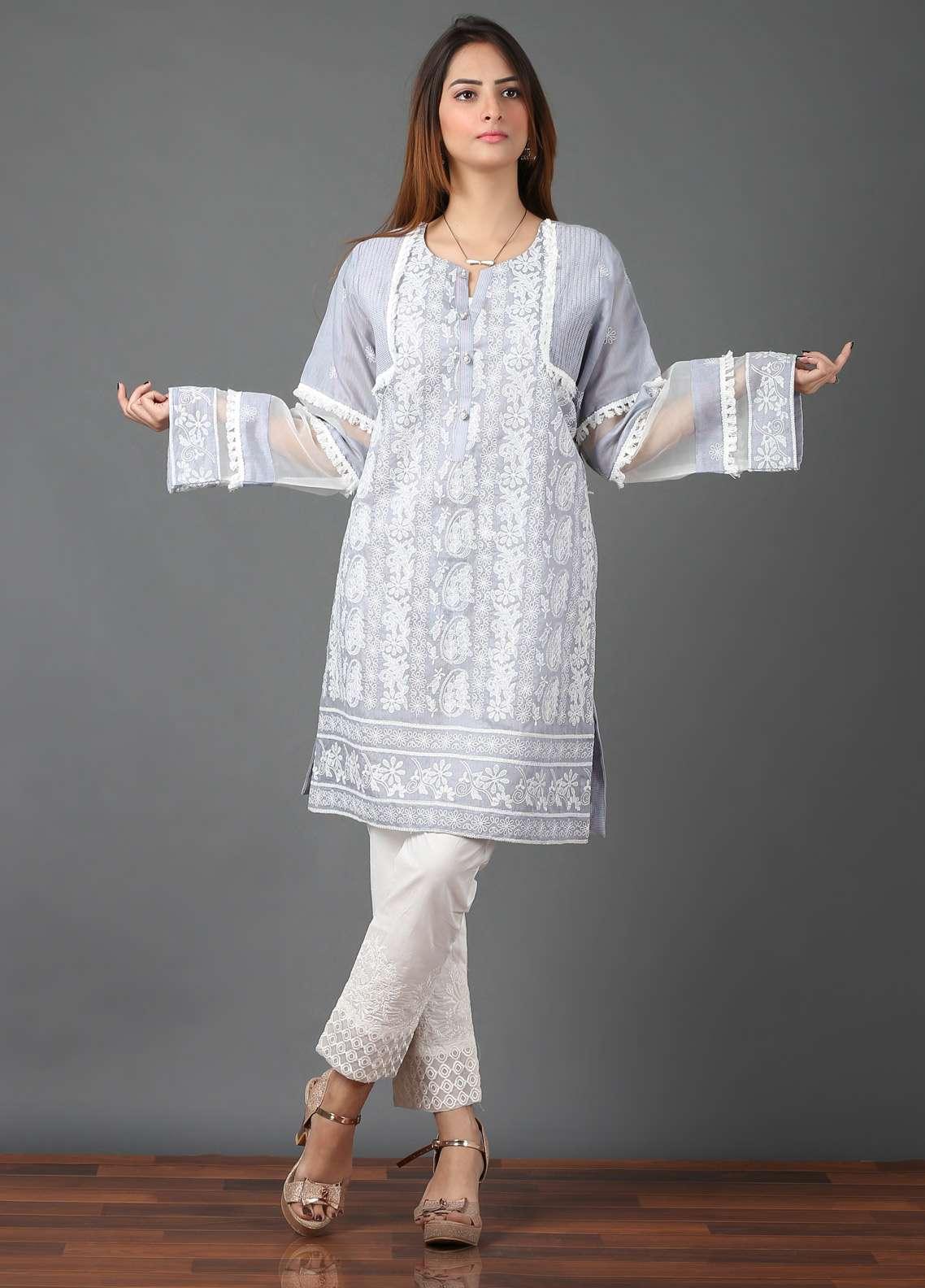 Pearl Closet Embroidered Cotton Net Stitched Kurtis Chicken Kari EK002 Grey