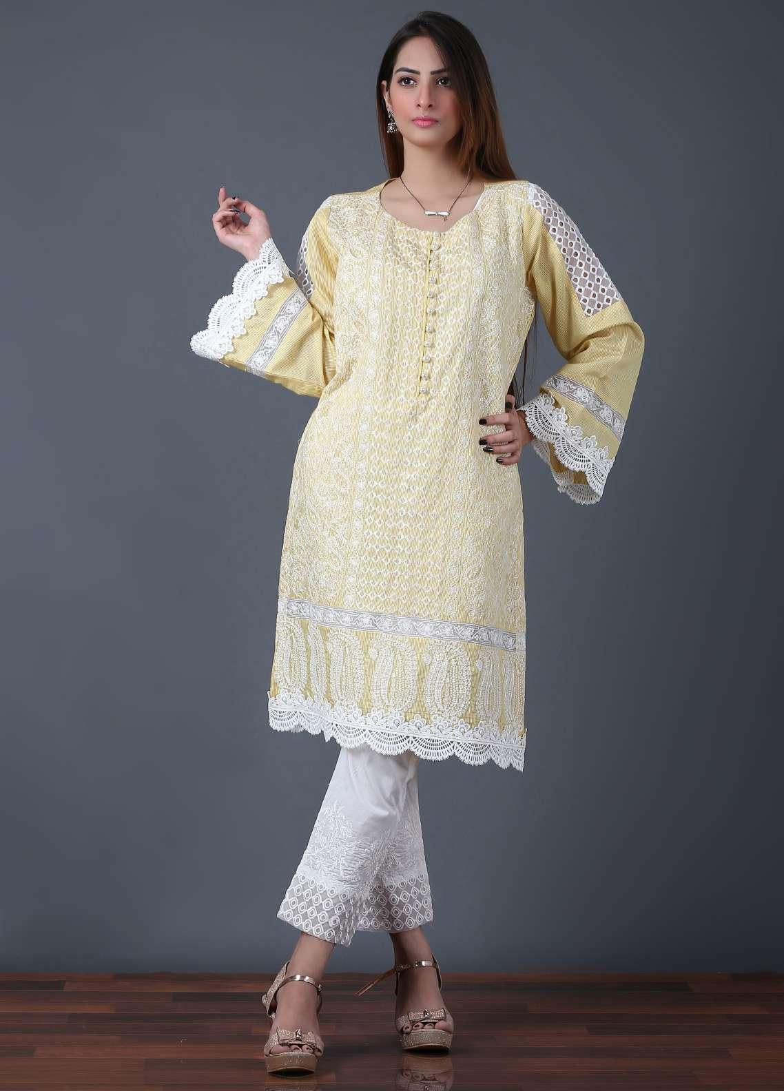 Pearl Closet Embroidered Cotton Net Stitched Kurtis Chicken Kari EK004 Lemon