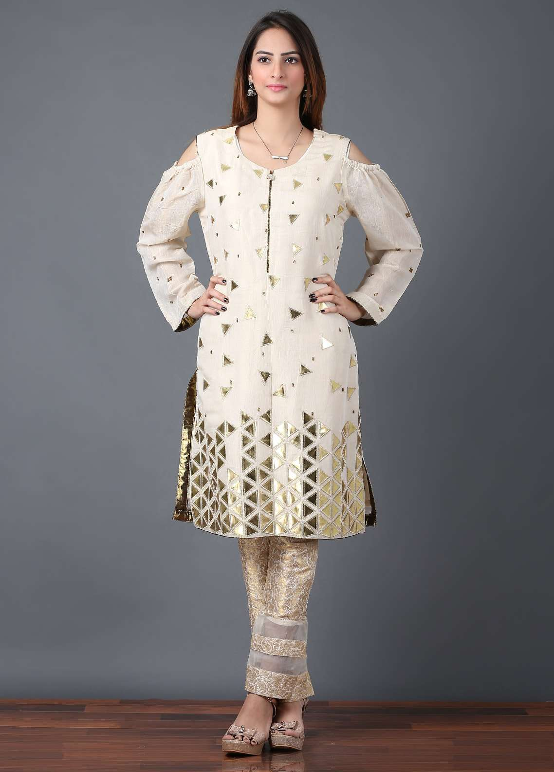 Pearl Closet Embroidered Chiffon Stitched Kurtis Golden Trio E005 Fawn