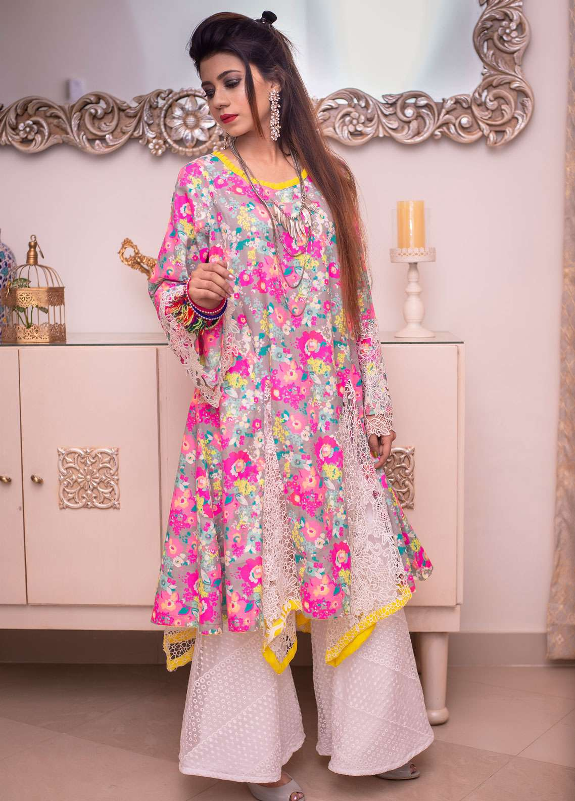Laali Embroidered Cotton Stitched Kurtis Lal-015