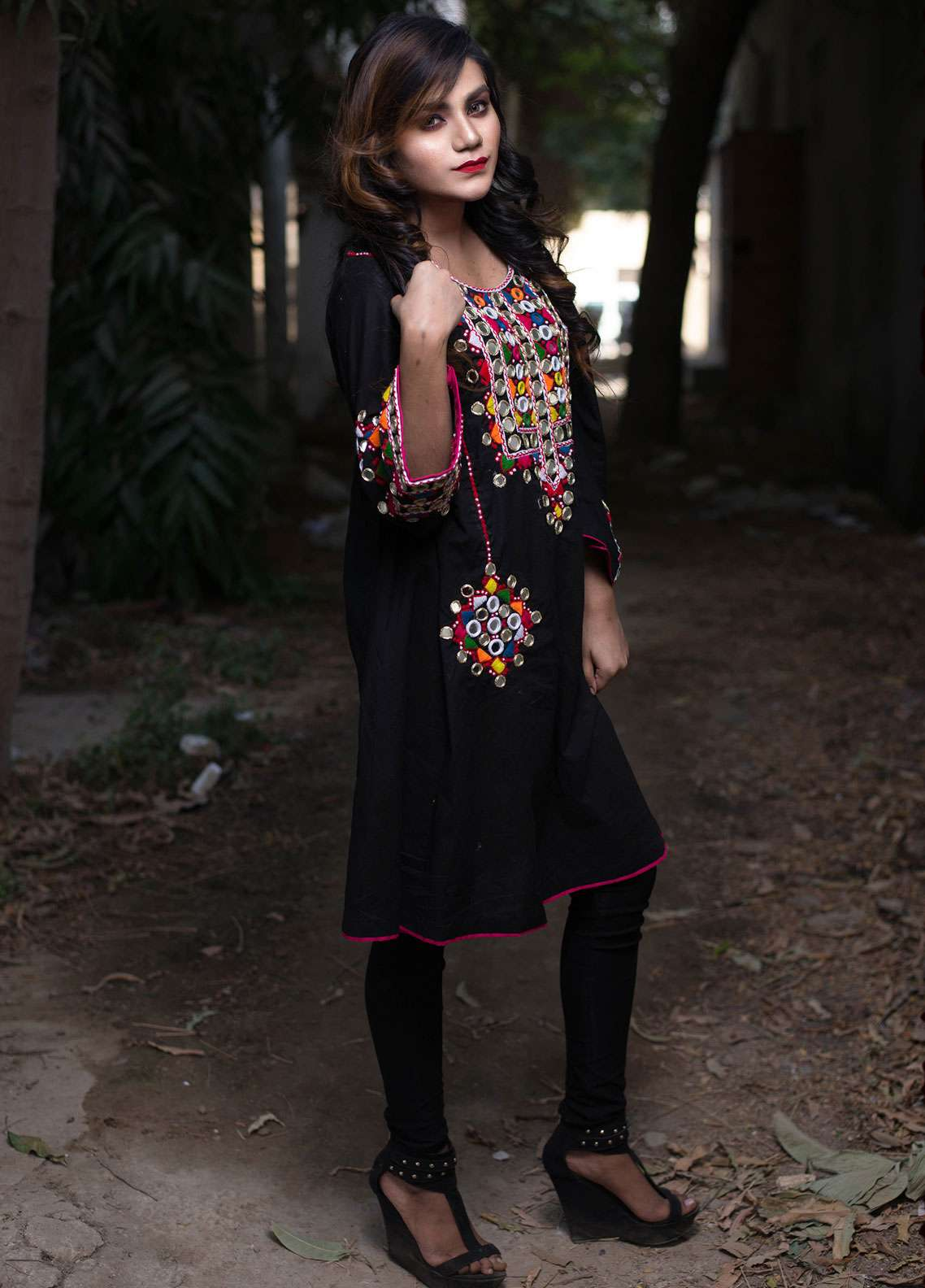 Laali Embroidered Cotton Stitched Kurtis Lal-016