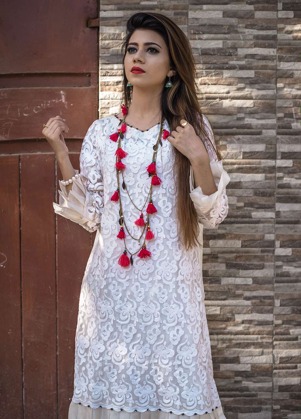 Laali Embroidered Organza Stitched Kurtis Lal-019