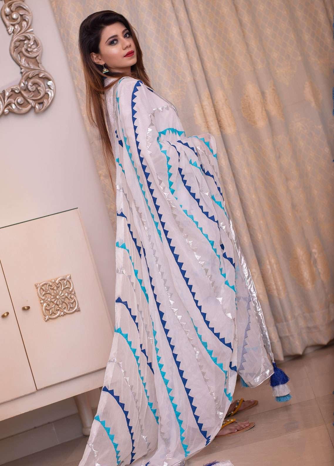 Laali Embroidered Chiffon Stitched Dupatta Lal-024