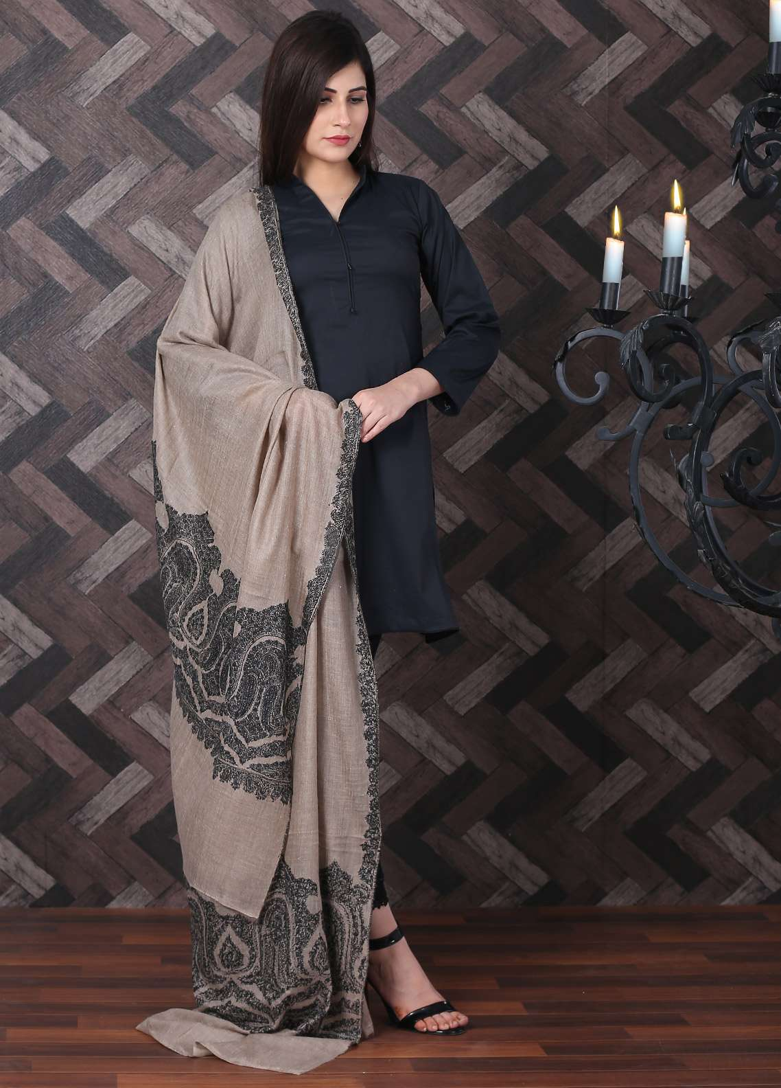 Sanaulla Exclusive Range Embroidered Pashmina Shawl 714 - Kashmiri Shawls