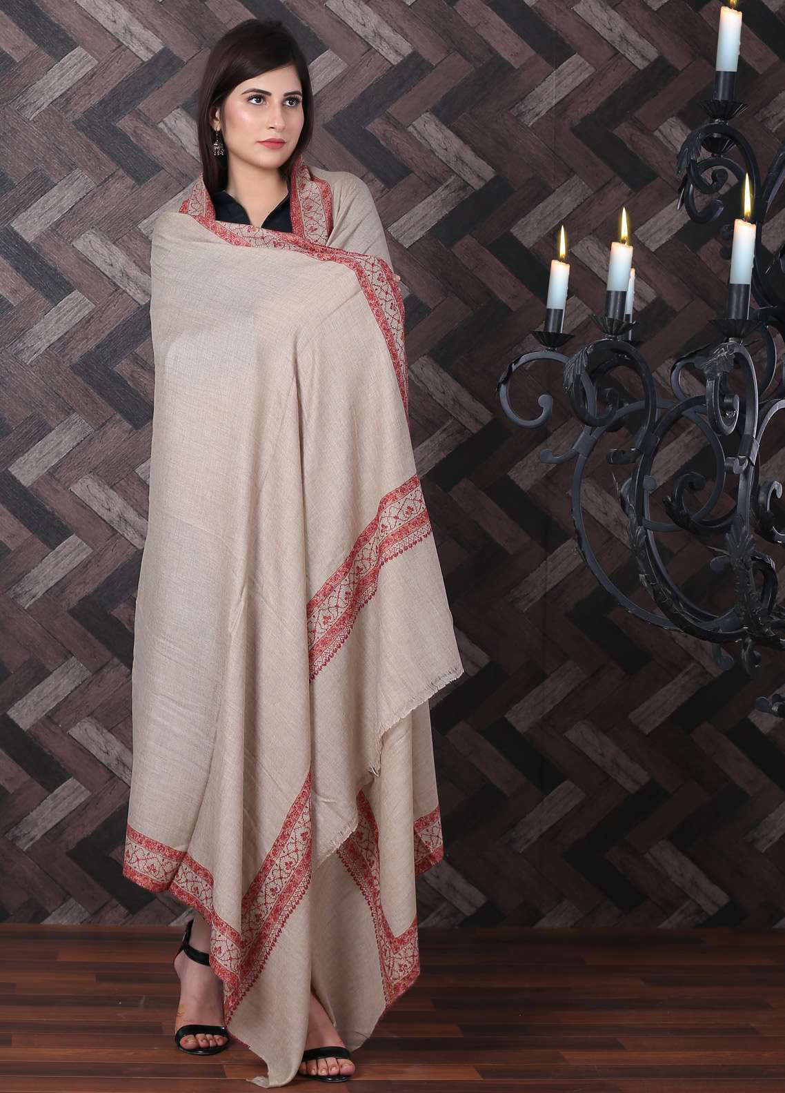 Sanaulla Exclusive Range Embroidered Pashmina Shawl 715 - Kashmiri Shawls