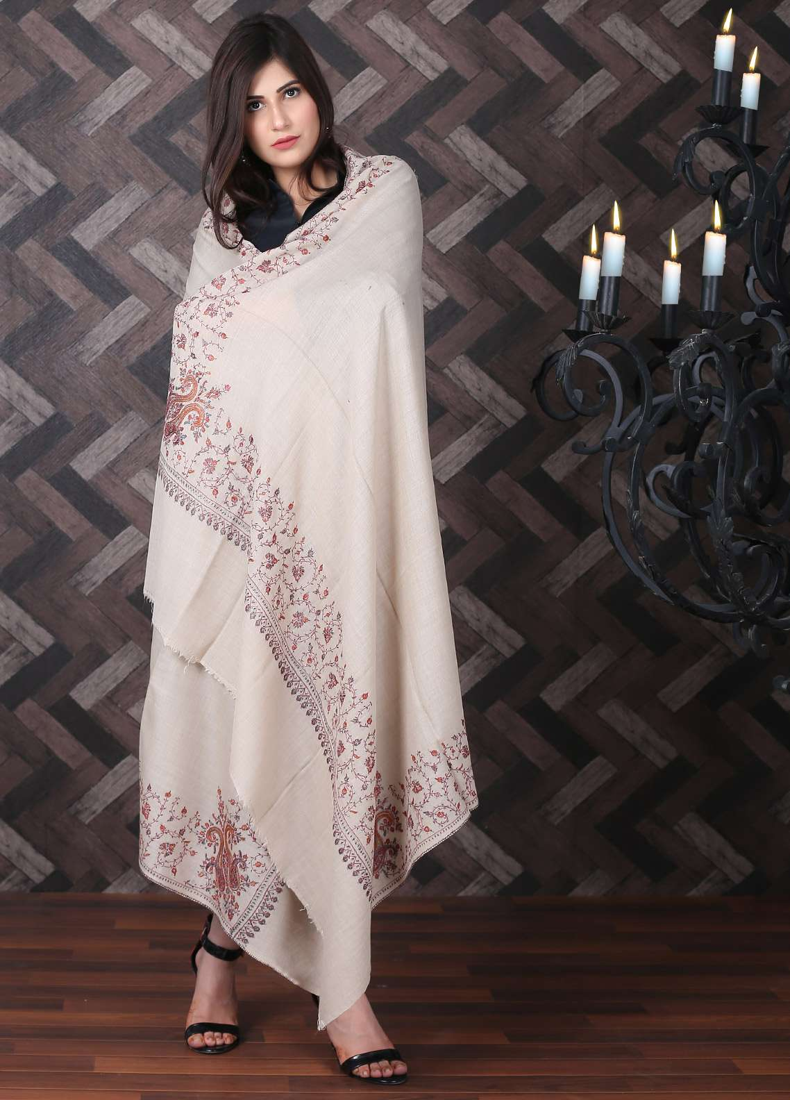 Sanaulla Exclusive Range Embroidered Pashmina Shawl 716 - Kashmiri Shawls
