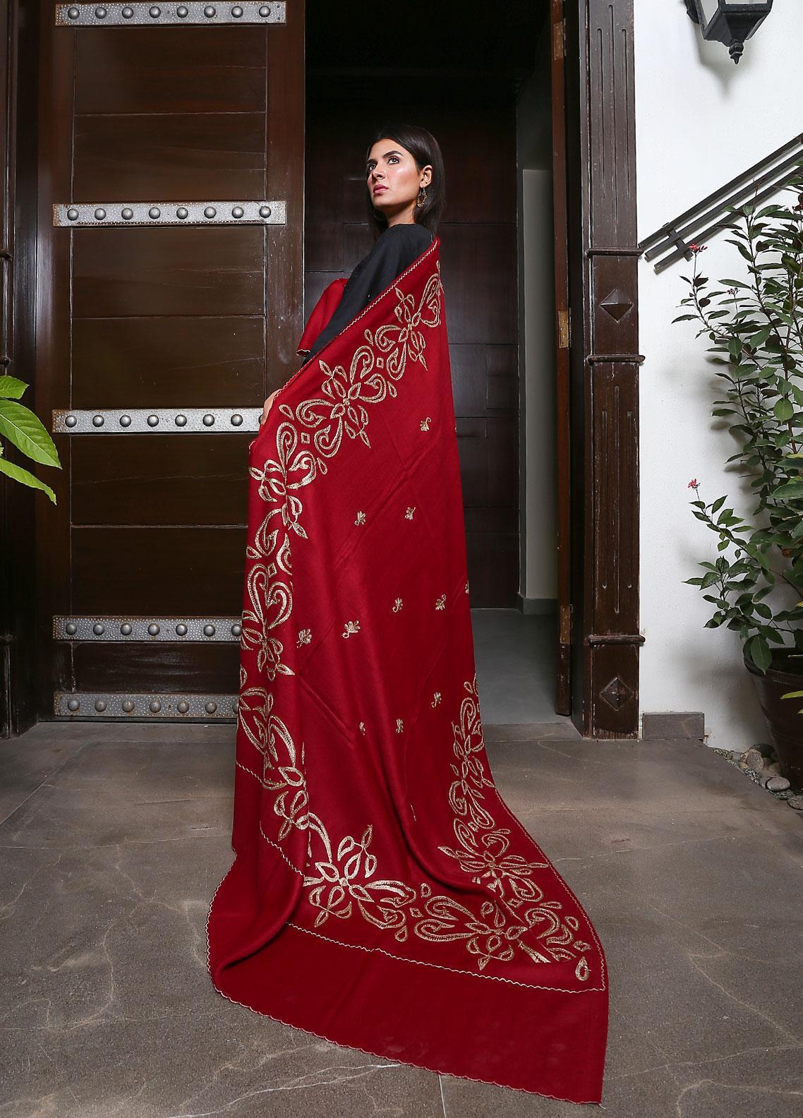 Sanaulla Exclusive Range Embroidered Pashmina  Shawl 19-MIR-123 Red - Kashmiri Shawls