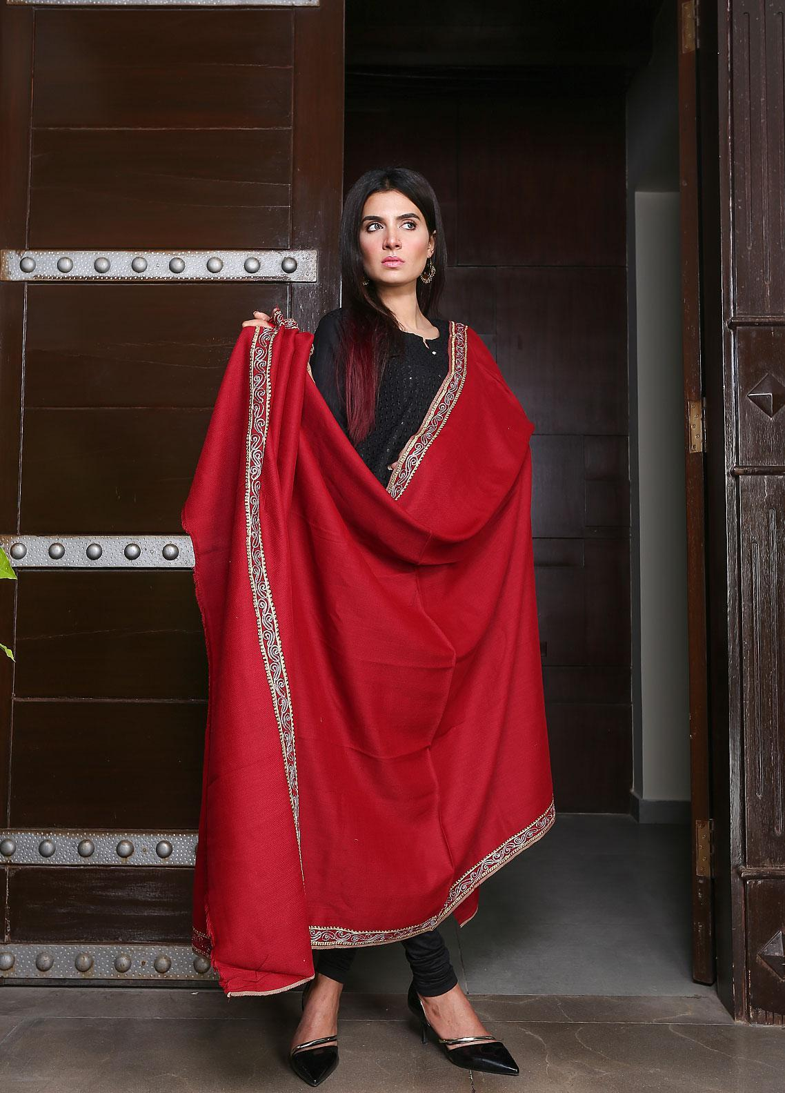 Sanaulla Exclusive Range Embroidered Pashmina Shawl 19-MIR-149 Maroon - Kashmiri Shawls