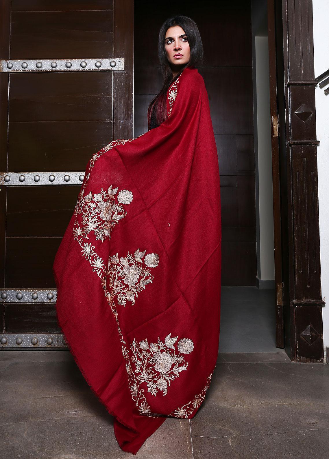 Sanaulla Exclusive Range Embroidered Pashmina  Shawl 19-MIR-98 Red - Kashmiri Shawls