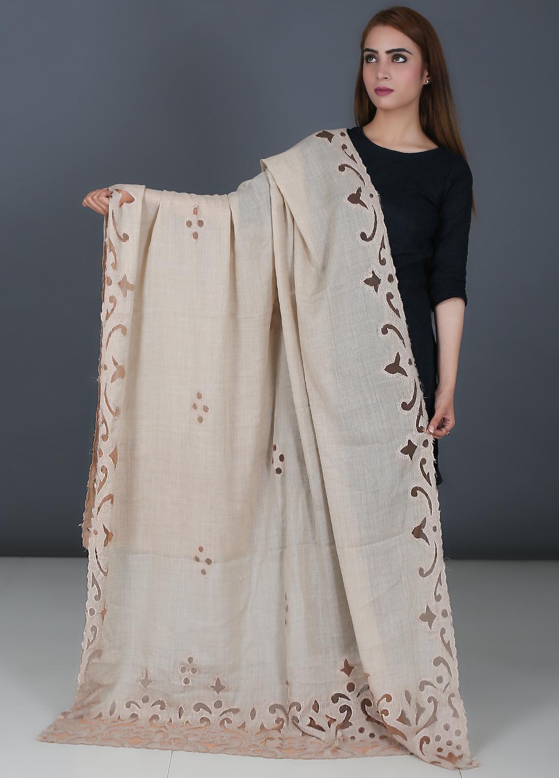 Sanaulla Exclusive Range Cutwork Pashmina  Shawl 562 Beige - Kashmiri Shawls