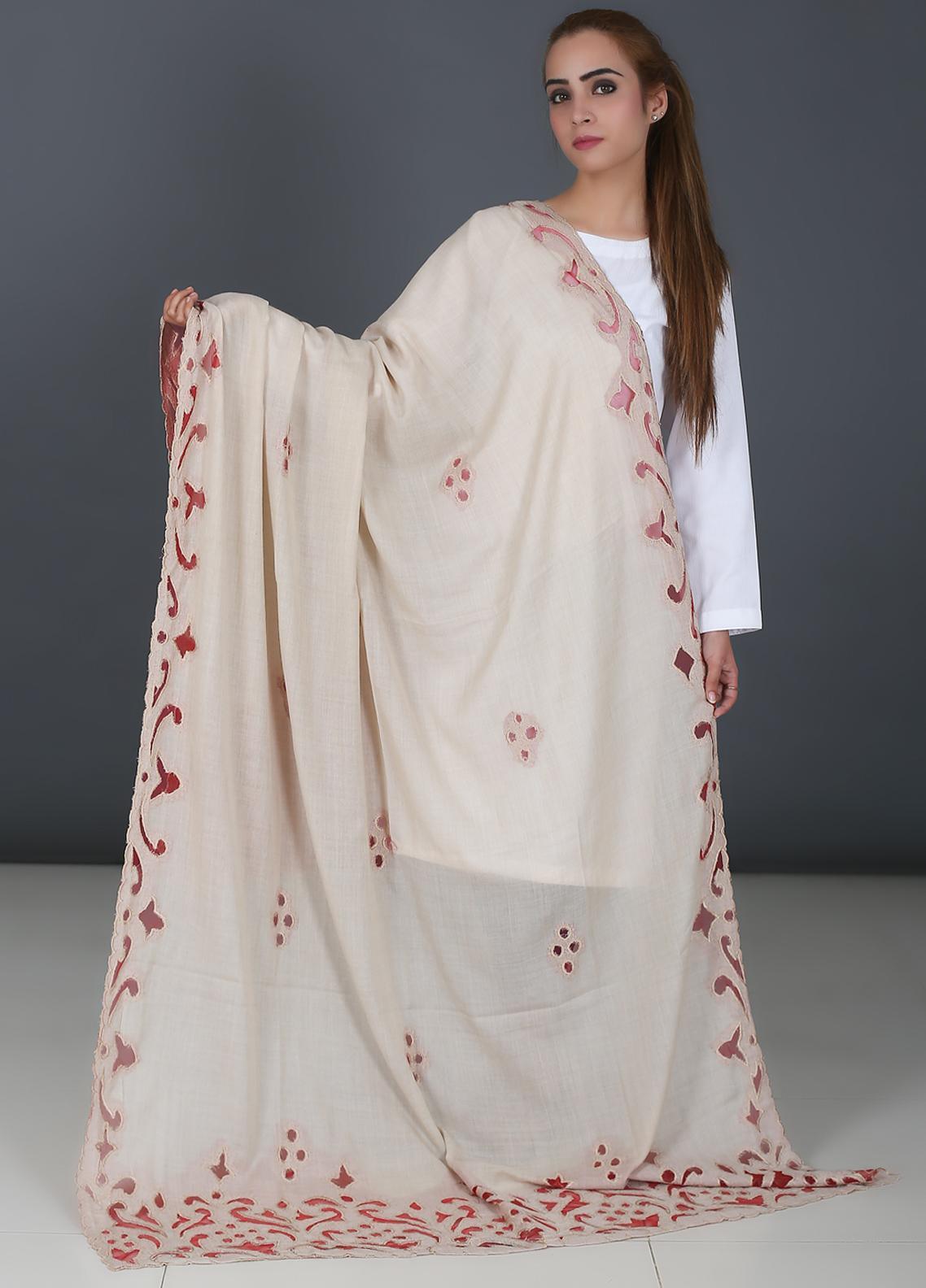 Sanaulla Exclusive Range Cutwork Pashmina  Shawl 566 Beige - Kashmiri Shawls