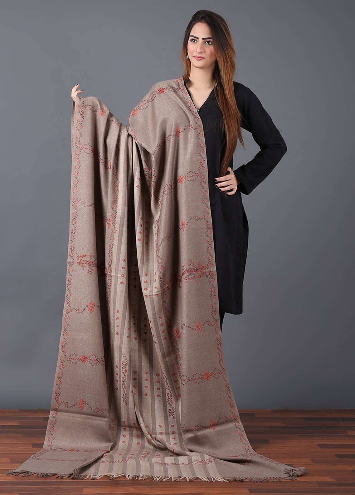 Sanaulla Exclusive Range Pashmina Embroidered Shawl 633 - Kashmiri Shawls