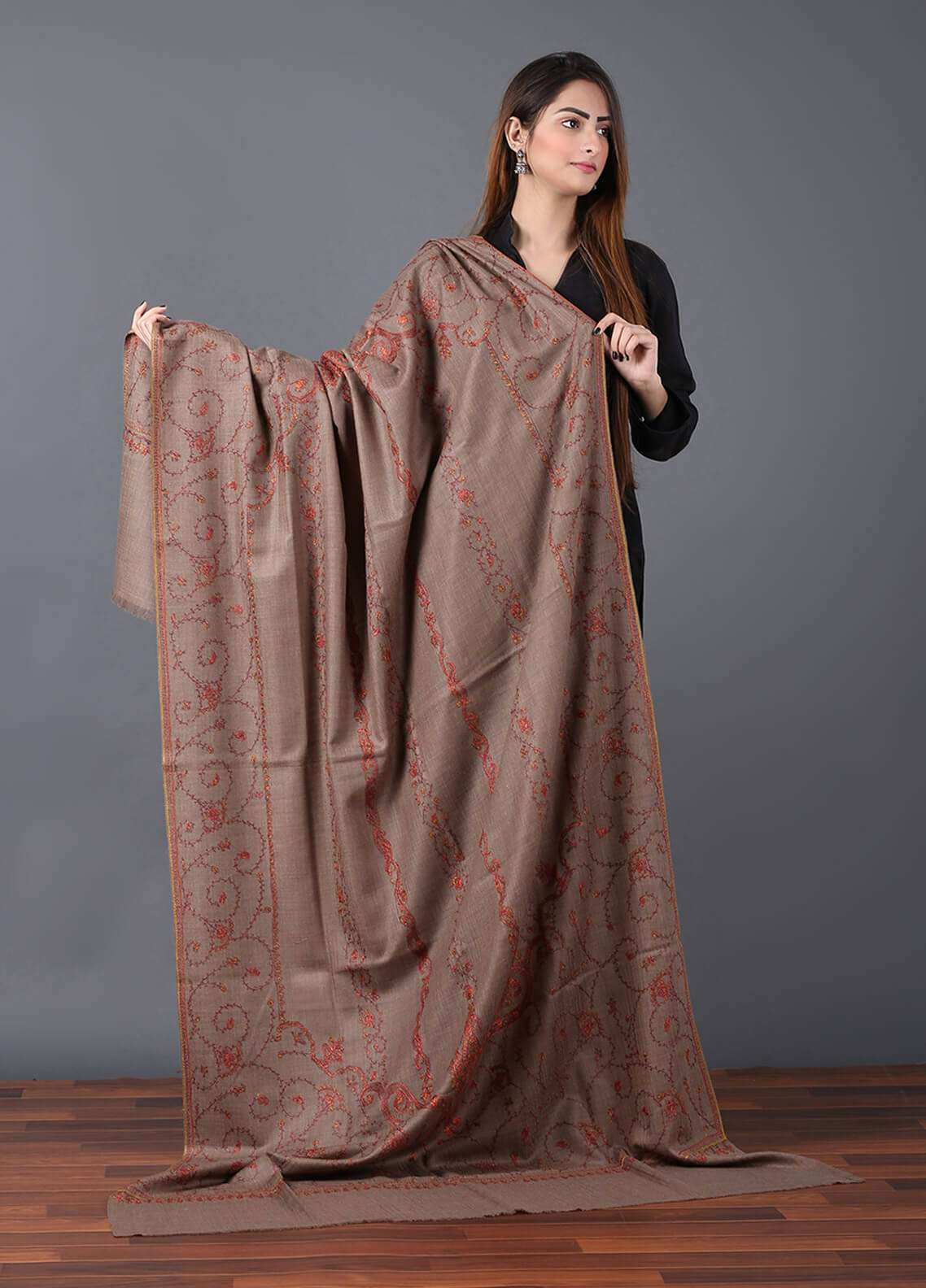 Sanaulla Exclusive Range Pashmina Embroidered Shawl 635 - Kashmiri Shawls
