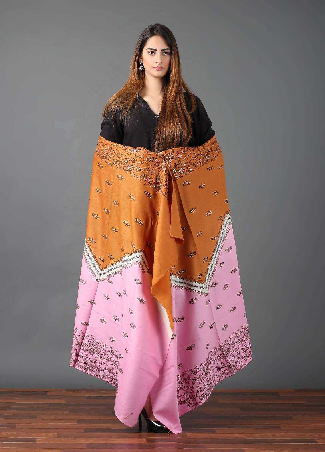 Sanaulla Exclusive Range Pashmina Embroidered Shawl 645 - Kashmiri Shawls
