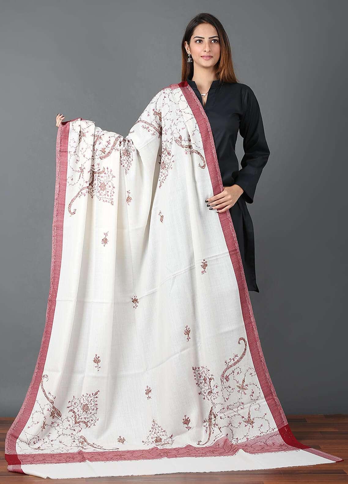 Sanaulla Exclusive Range  Pashmina Embroidered Shawl 663 - Kashmiri Shawls