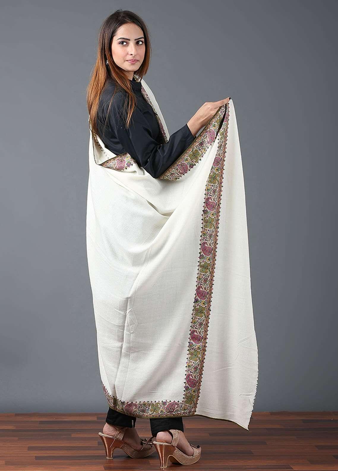 Sanaulla Exclusive Range  Pashmina Qalamkari Shawl 664 - Kashmiri Shawls