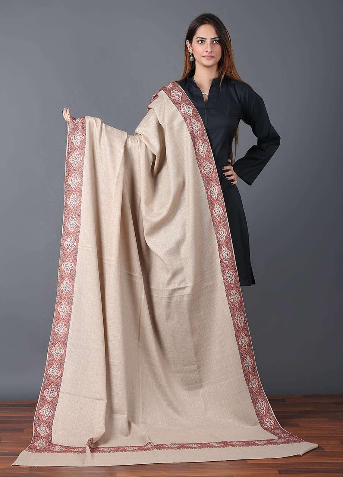 Sanaulla Exclusive Range  Pashmina Embroidered Shawl 667 - Kashmiri Shawls