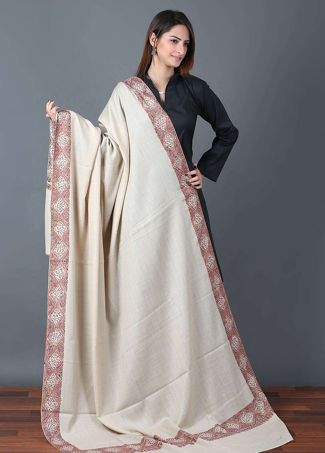 Sanaulla Exclusive Range  Pashmina Embroidered Shawl 670 - Kashmiri Shawls