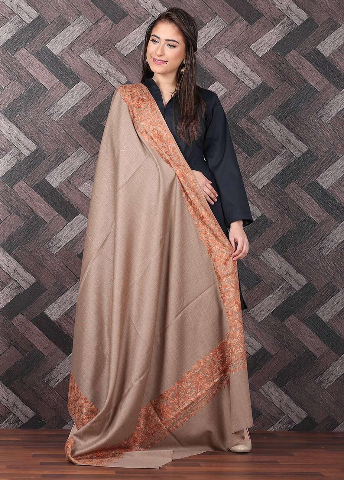 Sanaulla Exclusive Range  Pashmina Embroidered Shawl 700 - Kashmiri Shawls