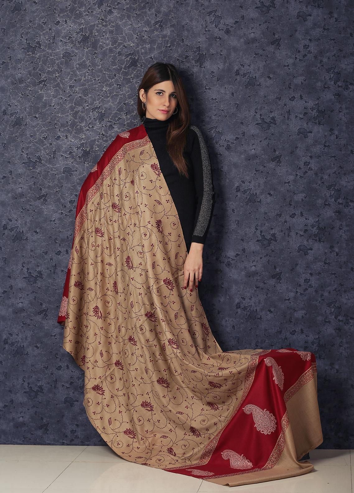 Sanaulla Exclusive Range Embroidered Pashmina  Shawl AKP-342 Fawn - Kashmiri Shawls