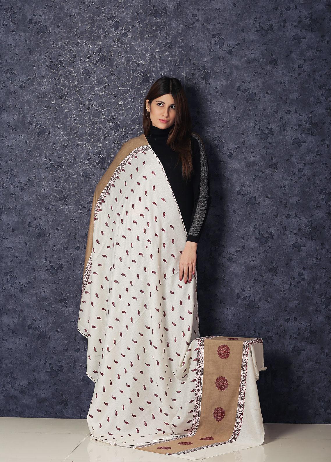 Sanaulla Exclusive Range Embroidered Pashmina  Shawl AKP-351 Fawn - Kashmiri Shawls