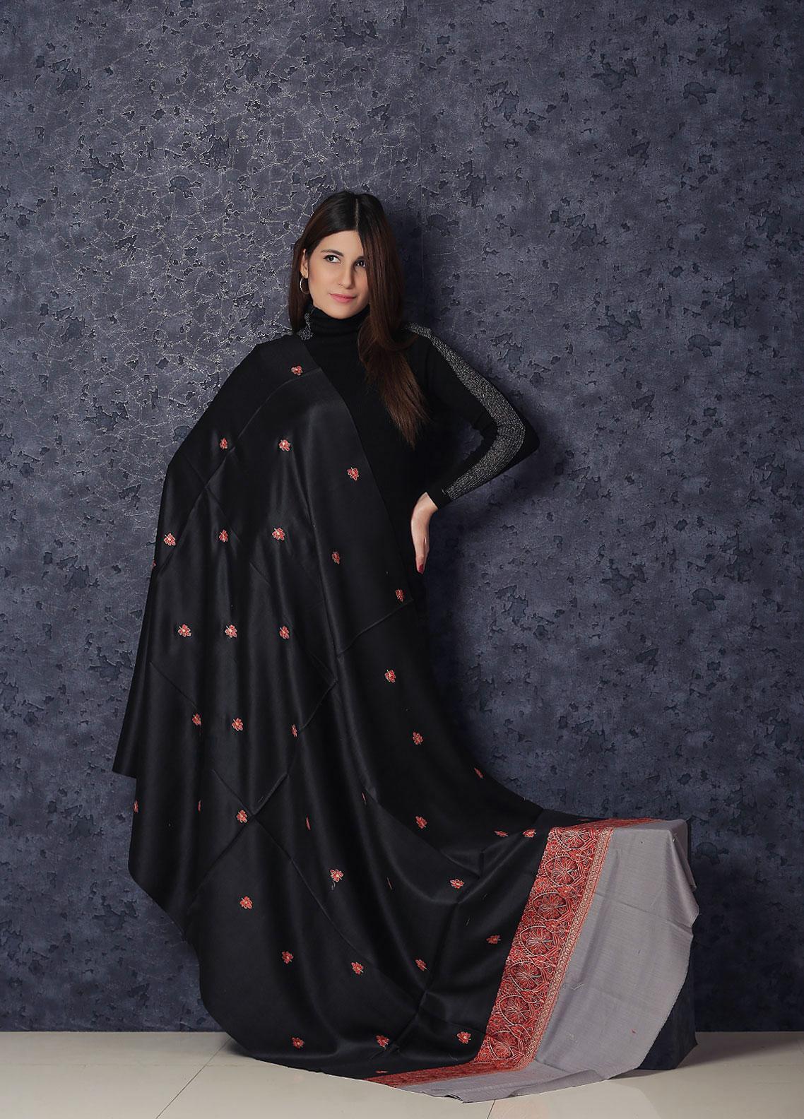 Sanaulla Exclusive Range Embroidered Pashmina  Shawl AKP-367 Grey - Kashmiri Shawls