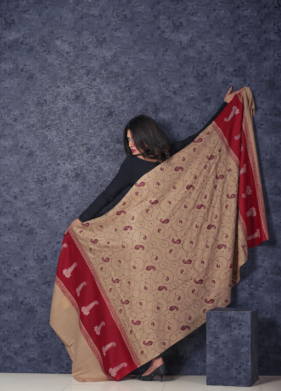 Sanaulla Exclusive Range Embroidered Pashmina  Shawl AKP-49 Brown - Kashmiri Shawls
