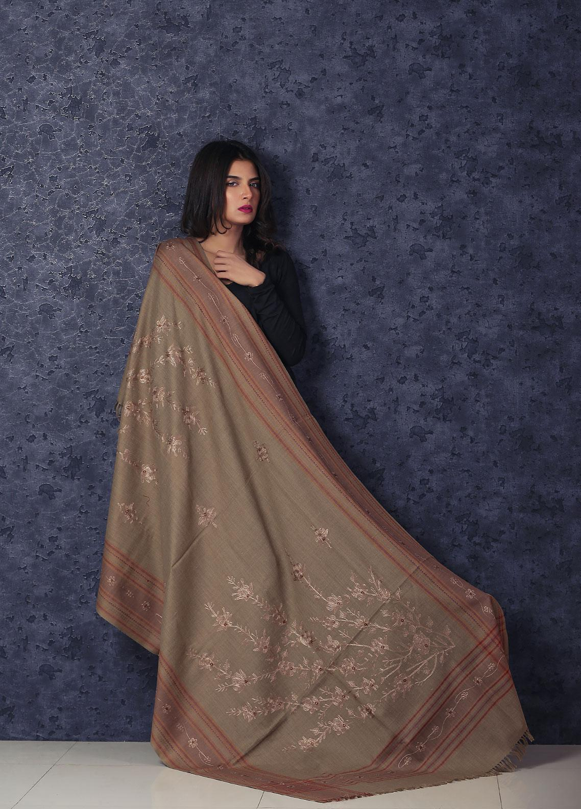Sanaulla Exclusive Range Embroidered Pashmina  Shawl Brown D-31 - Kashmiri Shawls