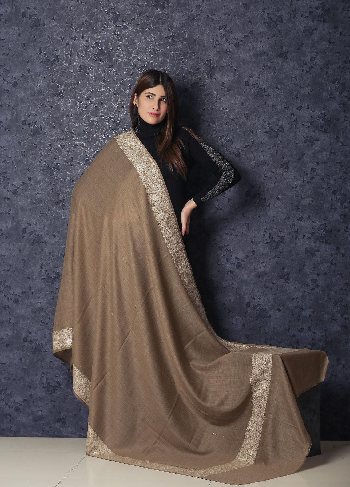 Sanaulla Exclusive Range Embroidered Pashmina  Shawl MIR-221 Brown - Kashmiri Shawls