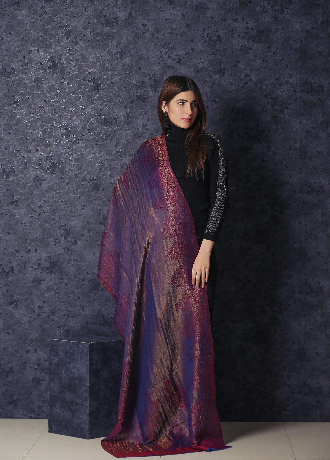 Sanaulla Exclusive Range Embroidered Pashmina  Shawl MIR-25 Maroon - Kashmiri Shawls