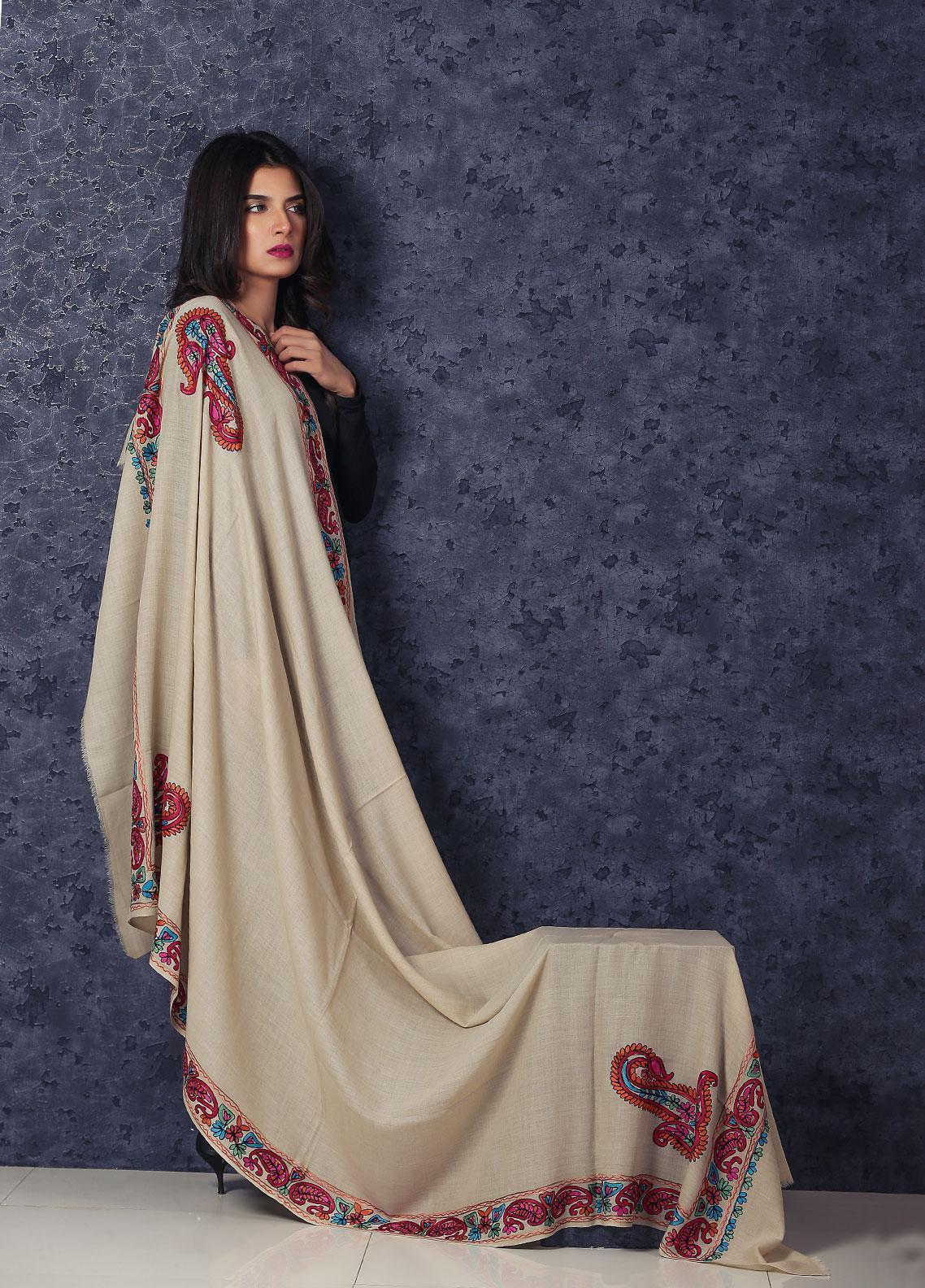 Sanaulla Exclusive Range Embroidered Pashmina  Shawl MIR-282 Beige - Kashmiri Shawls