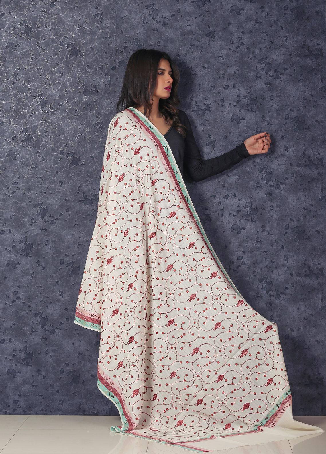 Sanaulla Exclusive Range Embroidered Pashmina  Shawl MIR-56 Off White - Kashmiri Shawls