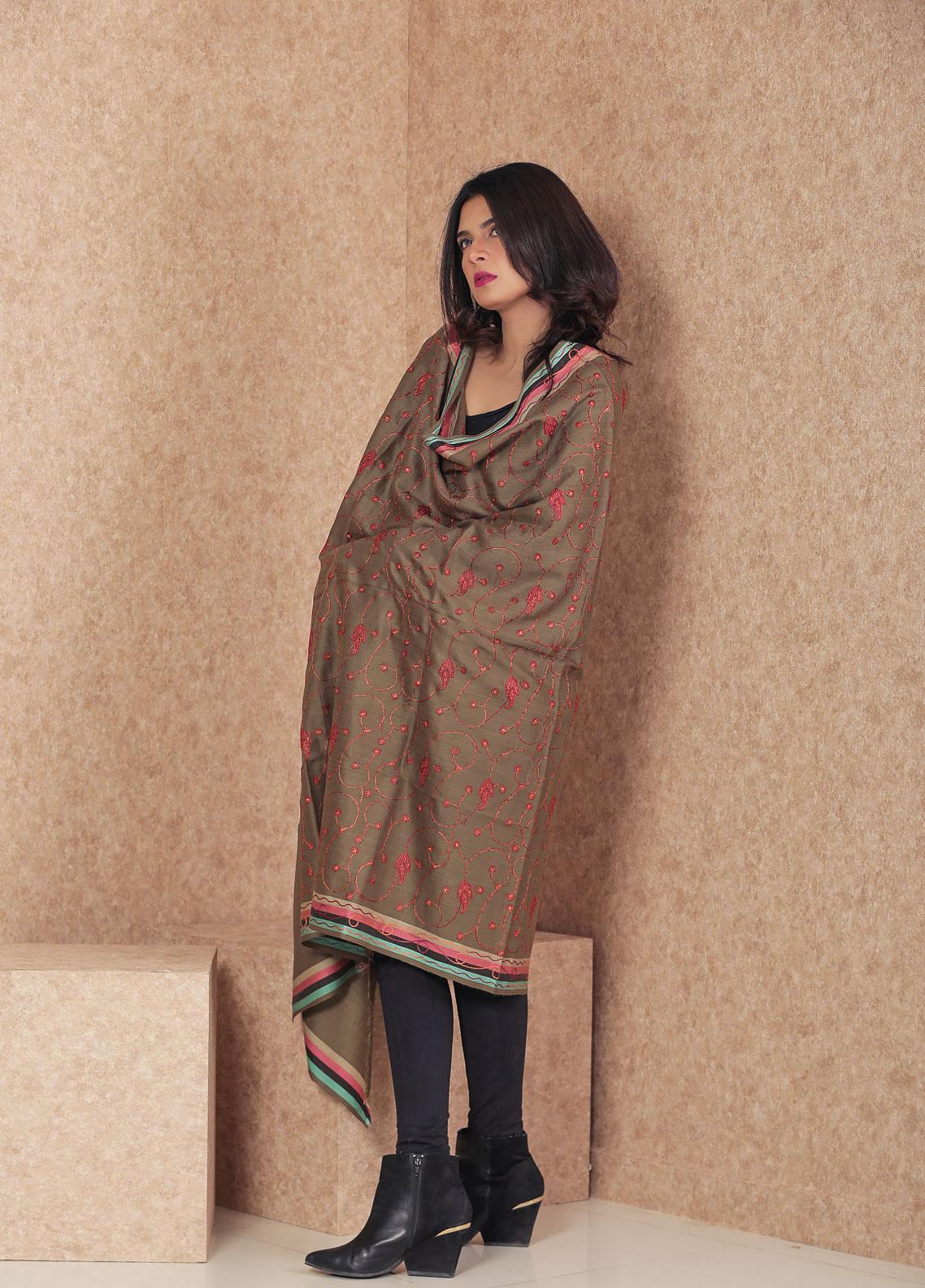 Sanaulla Exclusive Range Embroidered Pashmina  Shawl MIR-57 Dark Brown - Kashmiri Shawls