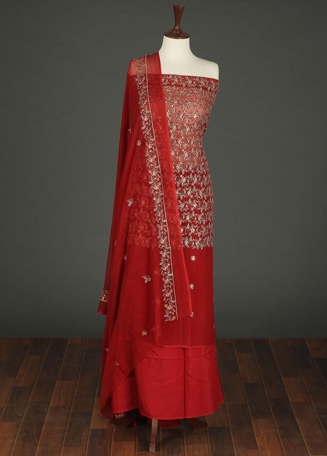 Sanaulla Exclusive Range Embroidered Chiffon Unstitched 3 Piece Suit SER19C 01 Red - Luxury Collection