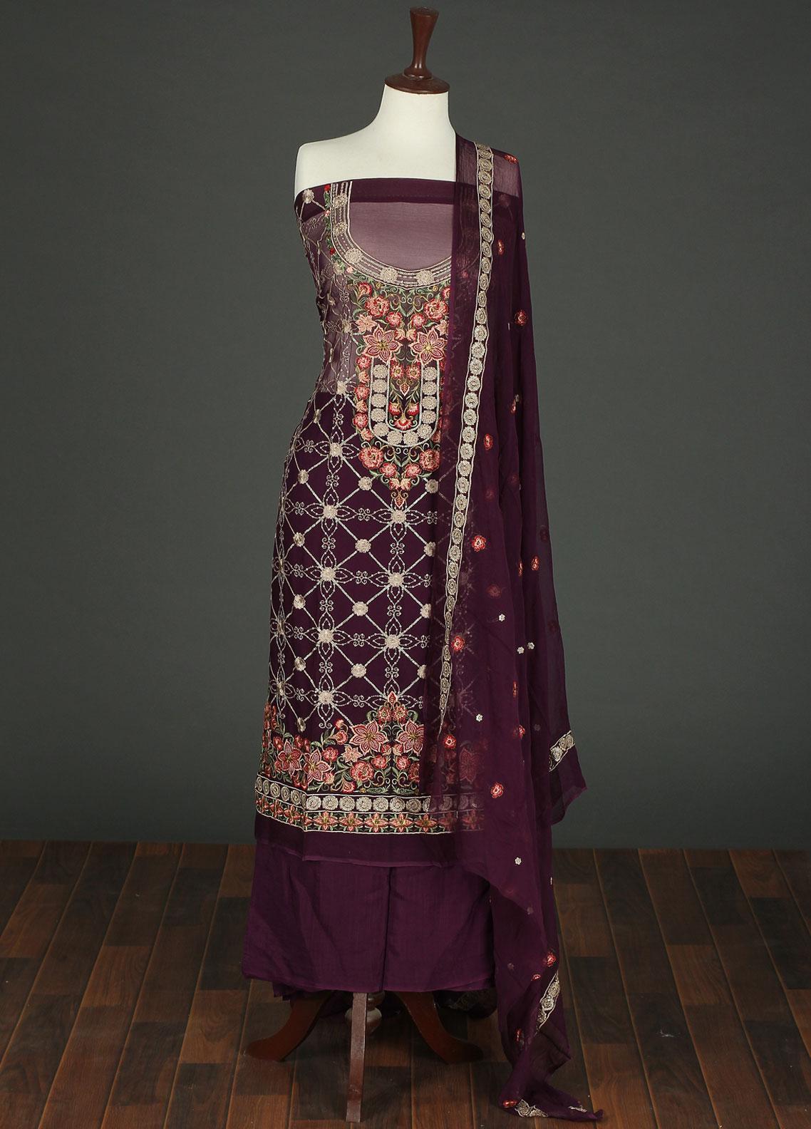 Sanaulla Exclusive Range Embroidered Chiffon Unstitched 3 Piece Suit SER19C 02 Purple - Luxury Collection